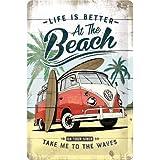 Nostalgic-Art Cartel de Chapa Retro VW – Bulli T1 – Beach – Idea de Regalo de Furgoneta Volkswagen, metálico, Diseño Vintage