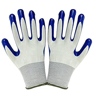 FOReverweihuajz Sale! Durable Gardening Protective Gloves,Thorn Resistant Waterproof Anti-Skid Outdoor Gardening Tools - Blue + White