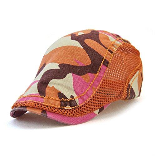 GADIEMKENSD Flat Cap Bill Camouflage Newsboy Cap Men Ivy Mesh Cap Hats Summer for Men Coffee Hats for Men Woman Cap Camouflage Sport Cap Mesh Fashion Cap Beret Grey Camouflage Orange