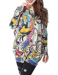 ELLAZHU Femme Pull Sweater Tricot Lâche Peinture Abstract Taille Unique SZ37