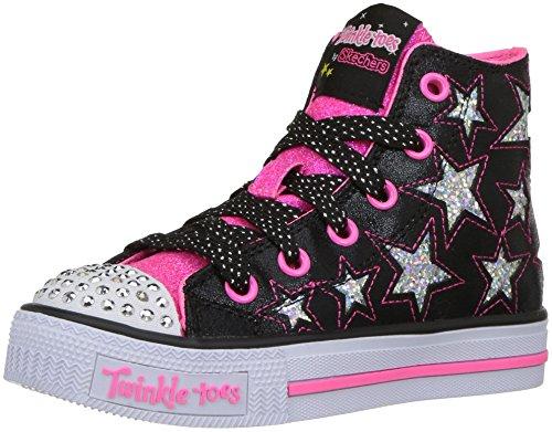 Skechers Mädchen Shuffles-Rockin Stars Ausbilder, Schwarz (Black/Neon Pink), 29 EU (Toe-high-top-schuh)