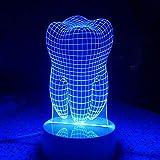 Mozhate USB Kabel Zahn Lampe 3D nachtlicht ferngesteuerte Hologramm Illusion nachtlicht tischlampe nachttischlampen als Hause,Multi