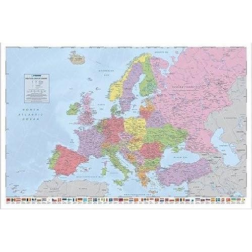 1art1 49076 world maps poltische world map europe flags poster 91 x 61 cm