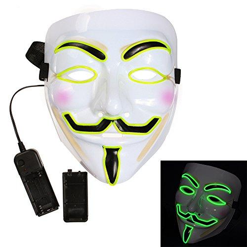 Preisvergleich Produktbild Bonamana kühle V für Vendetta Kerl Fawkes Masken-LED-leuchten Masken-Kostüm EL-Draht-Halloween-Maske (Leuchtstoff grün)