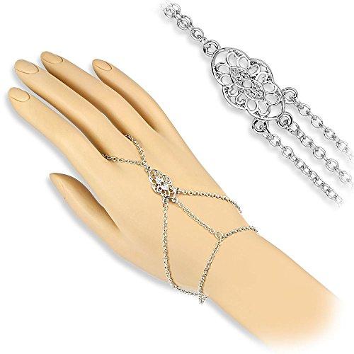 Bungsa® Handkette silber mit Vintage Ornament für Damen (Armband Fingerring Fingerkette Handschmuck Slave- - Silber-armband-finger-ring