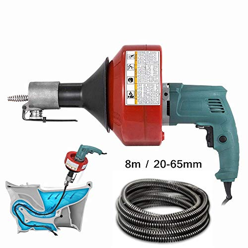 S SMAUTOP Elektrischer Rohrreinigungsspirale 8m*20-65mm Rohrreinigungsgerät 220V 700W für WC, Kanalisation, Badewanne und Spüle
