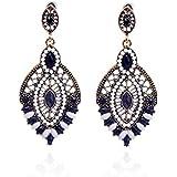 Lureme gioielli in perline modo scava fuori il disegno tono oro con pendente goccia d'acqua di cristallo ciondola gli orecchini per le donne e le ragazze (02003362-2)