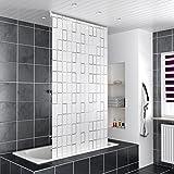 HOMELUX Duschrollo Badezimmer Vorhang Deckenbefestigung mit Klemmstange Seitenzug links oder rechts montierbar 120 x 240 cm SQUARE