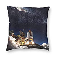 hdyefe Outer Space Home Decorative Throw Pillows Case Technology Theme Rocket Pattern Pillow Cover for Sofa Chair 18 x 18 Inch