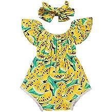 SCFEL Newborn bambina bambino U collo Watermelon Fruit Stampa Ruff la tuta Outfits + fascia 2pcs insiemi dei vestiti