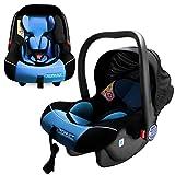 XOMAX XM-B03 BLUE Babyschale / Autokindersitz / Babyschaukel / Babywippe + Gruppe 0+ (0 - 13 kg / 0 - ca. 18 Monate) + ECE R44/04 geprüft + Farbe: blau / schwarz + Abnehmbares Sonnendach + Bezüge abnehmbar & waschbar + Gepolsterte Innenseite + 3-Punkte-Sicherheitsgurt + Tragegriff verstellbar