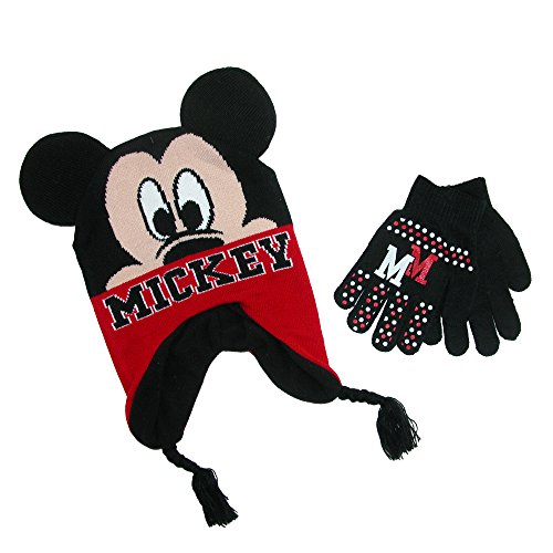 Disney Hat (Mickey Mouse Youth Boys Beanie Hat and Gloves Set (Jet Black))