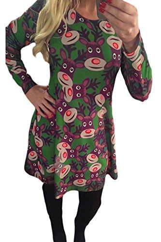 Le Donne Di Taglia Il Natale A Maniche Lunghe Per Babbo Natale Mini Vestito Green