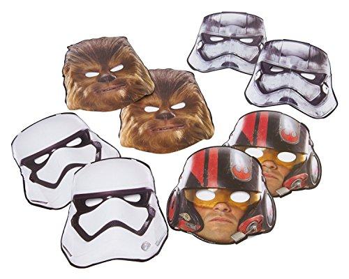 Star Wars 8 Stk Masken aus Star Wars Episode 7 - 8 Stk Papiermasken 4 verschiedene (Star Masken Wars)