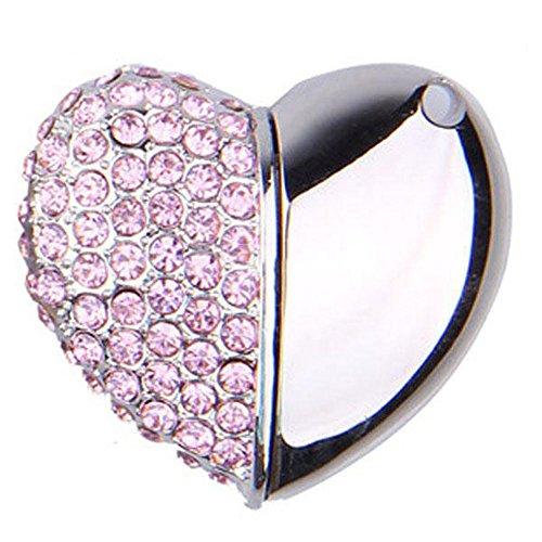 niceeshop(TM) Rosa 8GB Halb Diamant-und Halb Aluminium-Legierung Herz Form Kristall USB Flash Drive mit Einer Kette