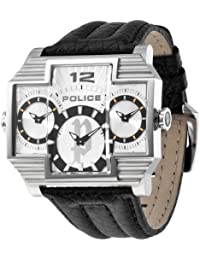 Police HAMMERHEAD P13088JS-04 - Reloj analógico de cuarzo para hombre, correa de cuero color negro