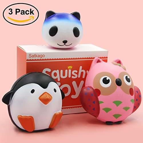 juguetes kawaii Grandes Squishy Slow Rising Squeeze Toy, Satkago 3 Piezas Juguetes Squishy Kawaii Blandos Juguetes Antiestres Squishy Animales Panda Búho Pingüino