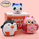 Mini Squishy Kawaii, Satkago 3 Pz Squishy Slow Rising Animali Mini Squishy kawaii Antistress Squeeze toy Giocattoli Squishy Pinguino Gufo Panda per Bambini