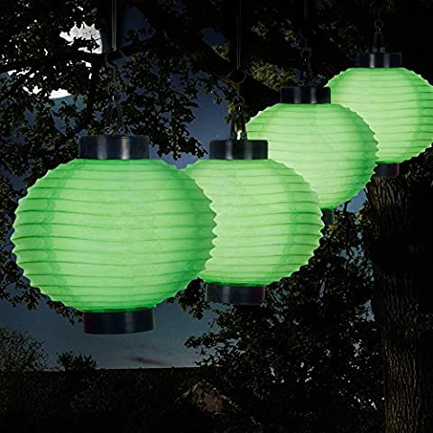 Pure Garden 50-19-G Outdoor Solar Chinese LED Lanterns, Green by Pure Garden