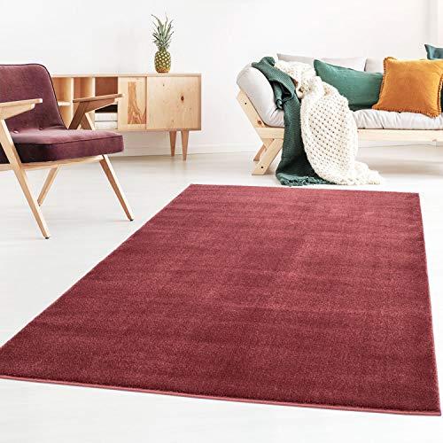 Taracarpet Kurzflor-Designer Uni Teppich extra weich fürs Wohnzimmer, Schlafzimmer, Esszimmer oder Kinderzimmer Gala rot 160x230 cm