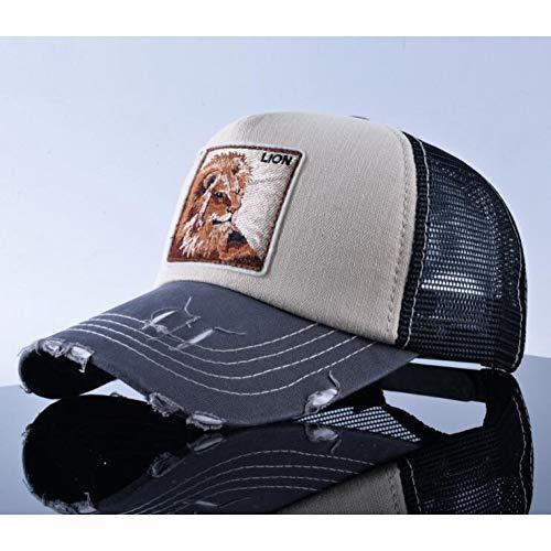 CGXBZA Mode Unisex Patch Knochen Wolf Stickerei Hip Hop Hüte Atmungsaktives Mesh Baseball Caps Männer Frauen Sommer Trucker