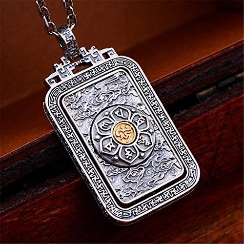 LEIGAGA Pure S925 Silber Mode Mann Anhänger Halskette Buddhist Six Words Vajra Exquisite Silber Handwerk Schmuck Großhandel