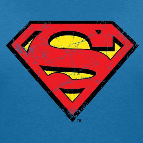DC Comics Superman Logo Look Usé T-shirt col V Femme de Spreadshirt® bleu paon