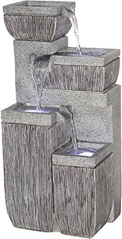 dobar Großer Design Garten-Brunnen mit Pumpe und LED´s, Polyresin, grau, 38.7 x 32.3 x 80.3 cm,