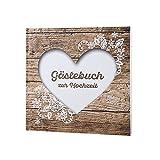 """Gästebuch zur Hochzeit """"Herzenssache"""" in rustikaler Holz-Optik mit weißem Herz"""