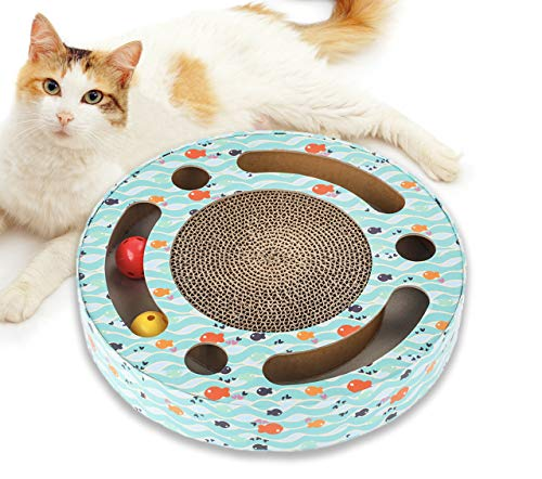 Katzenspielzeug Beschaftigung - Katzen Spielsachen Kratzbrett, Interaktives Spielzeug für Katzen, Katzezubehör Katze Spielschiene mit Katzenminze Klingelbälle