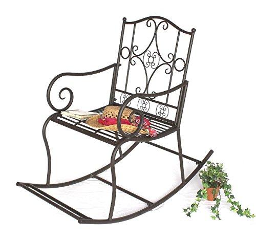 DanDiBo Chaise à bascule DY140490 Chaise de jardin en métal Chaise Fauteuil pivotant Balançoire brun
