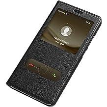 AddGuan Huawei Mate 9 Funda,Piel Genuina Delgado Caso Tirón ,Elegante Ventana vista , PC Material inferior cáscara Para Huawei Mate 9 - Negro