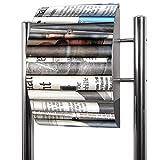 BANJADO Edelstahl Briefkasten groß, Standbriefkasten freistehend 126x53x17cm, Design Briefkasten mit Zeitungsfach Motiv Zeitungen