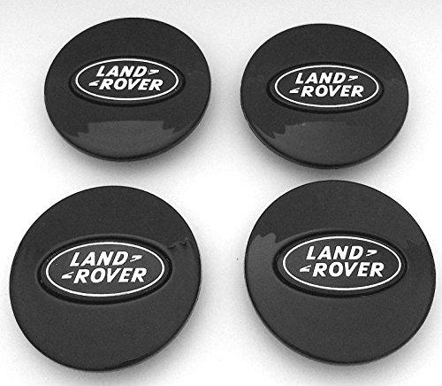 Set von 4Land Rover alle schwarz Logo 63mm Legierung Rad Badge Center Hub Mitte Kappen Evoque Sport Vogue HSE HST Supercharged Autobiographie Discovery Freelander Defender unter anderem