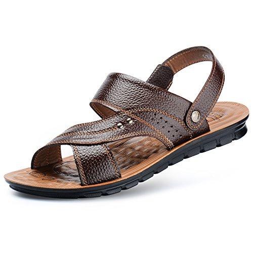 ZEEYUAN Sandalias de Los Hombres,Sandalias de Los Hombres de Cuero de Vaca Zapatos Ligeros Casuales de Desodorante Zapatos de Agua Antideslizantes de Verano Para Los Hombres (41.5, Marrón Oscuro)