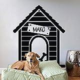 Vinilo adhesivo personalizable con nombre para pared de casa de perro o cita, para mascota, color Negro