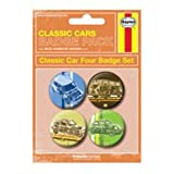 HAYNES CLASSIC CARS - BADGE PACK - PACK OF 4 X 38MM BADGES - BRAND NEW