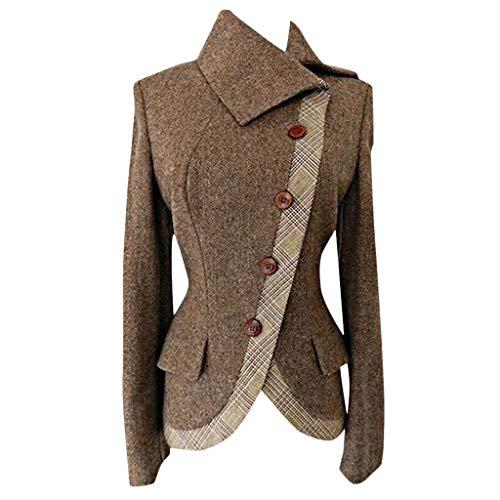 WFRAU Büro Frauen Übergröße Blazer Jacke Frauen warme Seite geknöpft Patchwork Oberbekleidung Mantel Vintage einfarbig Patchwork Langarm Bluse Tops Mode Regenmantel Mantel Strickjacke