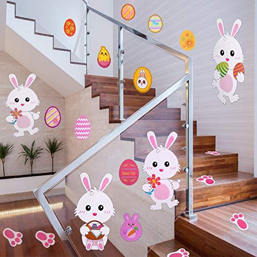 Chuangdi 55 pezzi adesivi di uova di pasqua adesivi di pollo a forma di coniglio pareti da muro per finestre di pasqua per decorazioni pasquali