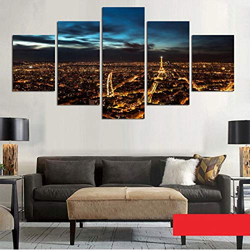Xzfddn Moderne Gemälderahmen Kunst Poster Wand Modulare Bild 5 Panel Paris In Der Nacht Dekoration Druck Auf Leinwand Für Wohnzimmer-30X40/60/80Cm,With Frame (Paris-dekorationen Nacht In)