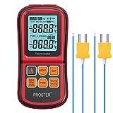 Proster Dual Kanal Digitales Thermometer LCD Hintergrundbeleuchtung Temperaturmessgerät mit 2 K-Typ Thermoelementen Sensor Sonde -328℉~2501℉...