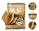 atorakushon® Satin Golden Multipurpose Make Up Pouch Jewellery Cosmetic Organizer Necklace Pouches Traveling Kit for Women's