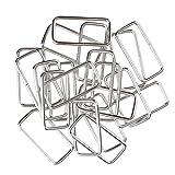 MagiDeal 20 Stück Metall Rechteck Ring Keine geschweißt für D Dee Ring Gurtband Gürtel Band Schnallen - Silber, 38x16x2.8mm