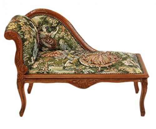 Casa Padrino Barock Kinder Chaiselongue Gobelin Muster/Mahagoni - Tron Barock Möbel