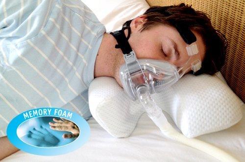 CPAP - Almohada de Memory Foam con Máscarilla para la Apnea del Sueño - Memory Foam, Blanco, Mediana