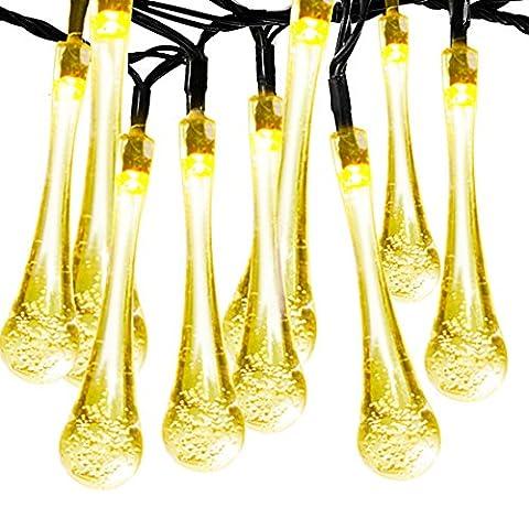Solarbetriebene Lichterkette 60LED 36ft, Satu braun Eiszapfen 11M Regentropfen Outdoor Garten Dekorative Beleuchtung für Terrasse Baum, Schlafzimmer, Weihnachten Party (Warm