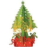 Hrph Pop Up Manuel Pliable 3D Carte de Voeux Joyeux Noël Arbre de Noël Creux en Motif Carte Postale Sapin de Noël avec Guirlande
