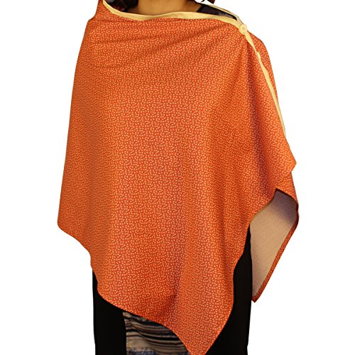 Kadambaby - Orange Printed Premium Nursing Cover / Breastfeeding Poncho / 100% Cotton. Stylish Nursing poncho / can be used as Stole/Scarf
