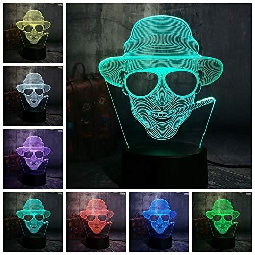 1 PACK, New Cool Smoking Man Mit Brille USB 3D LED Nachtlicht Schreibtischlampe Beleuchtung für Halloween Bar Dekorationen Geschenk für Kinder