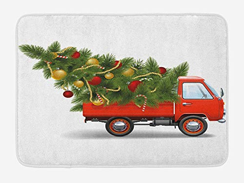 Christmas Bath Mat, Red Retro Style Farm Truck and Big Christmas Tree with Tinsel Balls Candy, Plush Bathroom Decor Mat with Non Slip Backing, 23.6 x 15.7 Inches, White Red Green